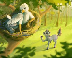 Size: 1525x1234 | Tagged: safe, artist:resurgam_snova, oc, oc only, oc:der, oc:verlo streams, bat pony, griffon, unicorn, duo, forest, hair, male, micro, nest, shaking hoof, tree
