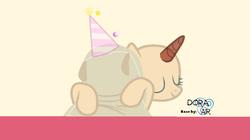 Size: 1018x571   Tagged: safe, artist:doraair, madame leflour, oc, pony, base, eyes closed, hat, hug, party hat