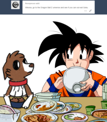 Size: 800x908 | Tagged: safe, artist:askwinonadog, winona, dog, ask winona, ask, chopsticks, crossover, dragon ball z, eating, food, goku, simple background, tumblr, white background