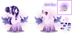 Size: 1280x604 | Tagged: safe, artist:jxst-kash, oc, oc:starla blue, alicorn, pony, base used, color palette, colored wings, eye clipping through hair, female, magical lesbian spawn, multicolored wings, offspring, parent:princess luna, parent:twilight sparkle, parents:twiluna, reference sheet, wings