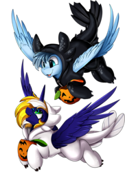 Size: 2550x3509   Tagged: safe, artist:pridark, oc, oc only, oc:scirocco seaspray, oc:time vortex (northerndawn), alicorn, dragon, light fury, night fury, pegasus, pony, alicorn oc, clothes, commission, commissioner:northerndawn, cosplay, costume, cute, dragon costume, high res, horn, how to train your dragon, how to train your dragon 3, open mouth, simple background, timocco, transparent background