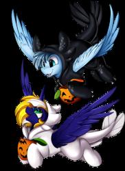 Size: 2550x3509 | Tagged: safe, artist:pridark, oc, oc only, oc:scirocco seaspray, oc:time vortex (th3bluerose), alicorn, dragon, light fury, night fury, pegasus, pony, alicorn oc, clothes, commission, cosplay, costume, cute, dragon costume, high res, how to train your dragon, how to train your dragon 3, open mouth, simple background, transparent background