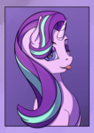 Size: 2480x3508 | Tagged: safe, artist:aterhut, starlight glimmer, pony, unicorn, :p, female, one eye closed, solo, tongue out, wink