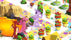 Size: 1280x720 | Tagged: safe, ballista, cup cake, garble, prominence, dragon, pony, bouquet, cute, dragoness, female, flower, gameloft, lava, promibetes, street