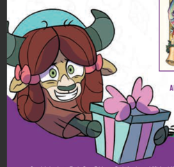 Size: 353x339 | Tagged: artist:nanook123, bow, cloven hooves, female, hair bow, idw, monkey swings, nervous, preview, safe, spoiler:comic, spoiler:comicholiday2019, yak, yona
