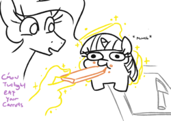 Size: 808x573 | Tagged: artist:jargon scott, carrot, dialogue, eating, food, glowing horn, hand, horn, knife, levitation, magic, magic hands, meme, ponified animal photo, ponified meme, princess celestia, safe, telekinesis, twiggie, twilight sparkle