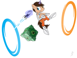 Size: 2500x1900 | Tagged: safe, artist:pandramodo, oc, pony, unicorn, chell, commission, companion cube, creeper, crossover, female, magic, mare, minecraft, ponified, portal, portal (valve), portal gun, simple background, solo, telekinesis, transparent background