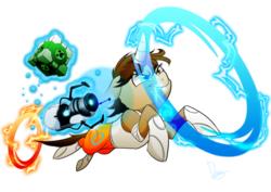 Size: 1024x725 | Tagged: safe, artist:dormin-kanna, oc, pony, unicorn, chell, companion cube, creeper, crossover, female, mare, portal, portal (valve), portal gun, simple background, transparent background