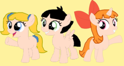 Size: 952x506 | Tagged: safe, artist:mlpfinisthebest222, artist:selenaede, artist:twidashfan1234, earth pony, pegasus, pony, unicorn, base used, blossom (powerpuff girls), bow, bubbles (powerpuff girls), buttercup (powerpuff girls), cartoon network, crossover, female, filly, ponified, powerpuff girls 2016, the powerpuff girls
