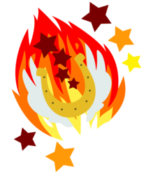 Size: 2800x3200 | Tagged: safe, artist:parclytaxel, edit, editor:cheezedoodle96, oc, oc:proudy hooves, .svg available, cutie mark, cutie mark only, fire, fireball, horseshoes, no pony, simple background, stars, svg, trace, transparent background, vector, wings