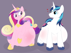 Size: 2100x1554 | Tagged: safe, artist:necrofeline, princess cadance, shining armor, alicorn, pony, unicorn, belly, big belly, duo, female, floating heart, heart, hyper, hyper pregnancy, impossibly large belly, looking at each other, male, male pregnancy, mare, pregnant, shiningcadance, shipping, simple background, smiling, stallion, straight