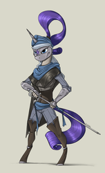 Size: 1000x1650 | Tagged: safe, artist:sinrar, rarity, anthro, unicorn, armor, boots, cape, clothes, female, ponytail, rapier, shoes, simple background, solo, sword, weapon
