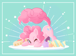 Size: 681x500 | Tagged: safe, artist:ymnsk, pinkie pie, earth pony, pony, blue background, candy, cookie, cute, diapinkes, face down ass up, female, food, mare, one eye closed, simple background, smiling, solo, stars, wink