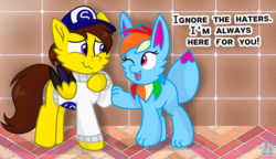 Size: 1842x1062 | Tagged: safe, artist:rainbow eevee, rainbow dash, oc, oc only, oc:ponyseb, oc:rainbow eevee, eevee, pegasus, pony, brick, clothes, cute, dialogue, female, hat, implied shipping, inspiration, male, one eye closed, pokefied, pokémon, snapback, species swap, sweater, text, tile