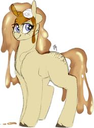 Size: 368x497 | Tagged: safe, artist:liefsong, oc, oc:pancake, food pony, original species, pony, food, pancakes, ponified, syrup