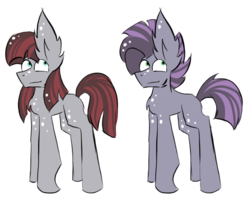 Size: 591x474 | Tagged: safe, artist:hunterthewastelander, oc, oc only, earth pony, pony, duo, earth pony oc, female, male, mare, offspring, parent:maud pie, parent:mud briar, parents:maudbriar, siblings, simple background, stallion, white background