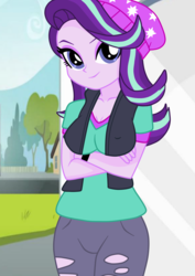 Size: 1131x1600 | Tagged: alternate version, artist:philelmago, beanie, breasts, cleavage, clothes, crossed arms, day, equestria girls, eyeshadow, female, grass, hat, house, human, humanized, makeup, nipples, ripped pants, road, safe, shirt, sidewalk, sky, smiling, solo, starlight glimmer, tree, vest