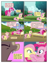 Size: 612x802 | Tagged: artist:newbiespud, bat ponified, bat pony, bats!, butterfly, cheek squish, comic, comic:friendship is dragons, couch, dialogue, earth pony, edit, edited screencap, eyes closed, fangs, female, flutterbat, fluttershy, mare, pegasus, pinkie pie, pony, race swap, safe, screencap, screencap comic, squishy cheeks, too many pinkie pies, tree