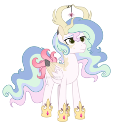 Size: 3149x3437 | Tagged: antlers, artist:midnightamber, base used, colored wings, deer, deer pony, flower, flowing mane, flowing tail, hybrid, interspecies offspring, male, markings, multicolored hair, multicolored wings, oc, oc:solar comet, offspring, original species, parent:king aspen, parent:princess celestia, parents:aspenlestia, pegasus, pony, safe, simple background, solo, stallion, transparent background, wings