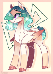 Size: 784x1103 | Tagged: artist:manella-art, female, gradient mane, hair over one eye, mare, oc, oc:ocean crystal, pegasus, pegasus oc, pony, safe, smiling, solo, tail bun, wing fluff