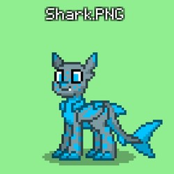 Size: 651x651 | Tagged: safe, artist:bravewind, oc, oc only, unnamed oc, original species, pony, shark, shark pony, pony town, bat wings, claws, donut steel, fangs, green background, hidden cutie mark, original character do not steal, shark tail, simple background, title, wings, wip