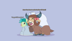 Size: 5411x3131 | Tagged: safe, artist:gd_inuk, sandbar, yona, earth pony, pony, yak, blanket, bow, descriptive noise, dialogue, duo, eyes closed, female, hair bow, hat, male, nurse hat, nurse outfit, one eye closed, shipping, sick, sitting, straight, yonabar