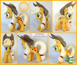 Size: 2200x1854 | Tagged: applejack, artist:lioncubcreations, clothes, commission, photo, plush commission, plushie, pony, safe, sock, socks, solo, striped socks