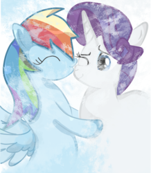 Size: 726x834 | Tagged: artist:dashybestpony, cute, eyes closed, female, heart, hug, kissing, lesbian, love, mare, nose kiss, one eye closed, pegasus, pony, profile, rainbow dash, raridash, rarity, safe, shipping, simple background, smiling, snow, standing, unicorn, winter