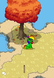 Size: 1080x1550 | Tagged: safe, artist:bravewind, oc, oc only, oc:bravewind, pony, pony town, antlers, apple, chat bubble, chat bubbles, food, grass, multicolored hair, nature, ocean, rainbow antlers, rainbow hair, rainbow tail, scenery, shark tail, shore, sitting, tiki torch, torch, tree