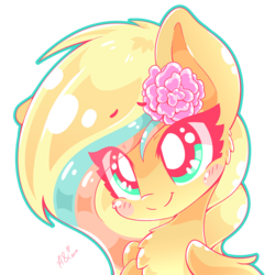 Size: 840x840   Tagged: safe, artist:hungrysohma, oc, pegasus, pony, blushing, chest fluff, cute, female, flower, flower in hair, ocbetes, simple background, transparent background