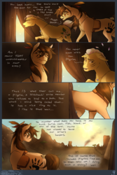 Size: 1200x1800   Tagged: safe, artist:bootsdotexe, oc, oc only, oc:featherfall, oc:magnolia, earth pony, pony, comic:beyond our borders, comic, duo, elderly, feather, female, grandmother and grandchild, grandmother and grandson, male, mare, smoke, stallion, tail wrap