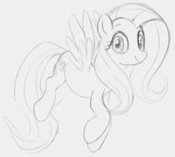 Size: 678x608 | Tagged: artist:dotkwa, cute, female, fluttershy, looking at you, mare, monochrome, pegasus, pony, safe, simple background, sketch, smiling, solo, spread wings, three quarter view, wings