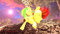 Size: 1920x1080   Tagged: safe, artist:sky chaser, oc, oc only, oc:sky chaser, oc:wooden toaster, pegasus, pony, 3d, female, male, sleeping, source filmmaker, tree