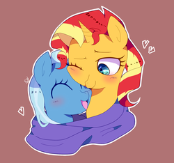 Size: 1602x1500 | Tagged: safe, artist:stuwor-art, sunset shimmer, trixie, pony, unicorn, blushing, cute, diatrixes, female, lesbian, shimmerbetes, shipping, suntrix
