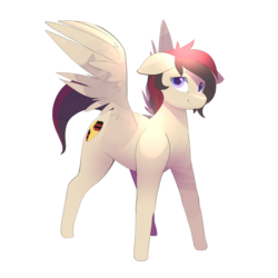 Size: 3000x3000 | Tagged: safe, artist:b-epon, oc, oc only, oc:porsche speedwings, pegasus, pony, :), blue eyes, floppy ears, looking at you, male, messy mane, pegasus oc, porsche, shading, simple background, solo, spread wings, stallion, tan coat, white background, wings