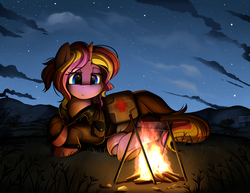 Size: 3300x2550 | Tagged: safe, artist:pridark, oc, oc only, oc:gentle care, pony, unicorn, bonfire, campfire, clothes, commission, female, fire, first aid kit, high res, mare, medical saddlebag, night, prone, solo, underhoof