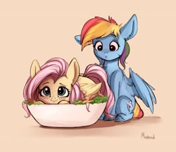 Size: 3955x3424 | Tagged: artist:miokomata, behaving like a bird, blushing, bowl, chest fluff, cute, duo, eyes on the prize, fangs, female, fluttershy, food, freckles, holiday, mare, pegasus, ponies in food, pony, prone, rainbow dash, safe, salad, shyabetes, signature, simple background, sitting, thanksgiving, three quarter view, wings