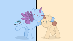 Size: 3000x1688 | Tagged: safe, artist:doraair, alicorn, pony, base, duo, eyes closed, raised hoof, smiling, split screen