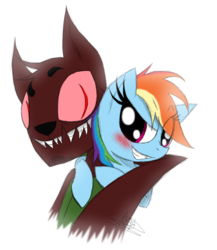 Size: 1200x1385 | Tagged: artist:didun850, bust, canon x oc, clothes, diamond dog, diamond dog oc, eye clipping through hair, grin, hoodie, interspecies, oc, oc:willbert, pegasus, pony, rainbow dash, safe, sharp teeth, simple background, slit eyes, smiling, teeth, white background