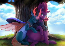 Size: 4092x2893 | Tagged: safe, artist:nsfwbonbon, fizzlepop berrytwist, pharynx, tempest shadow, bird, changedling, changeling, pony, unicorn, belly bumps, belly button, broken horn, clothes, commission, crepuscular rays, female, food, grapes, horn, hug, interspecies, kicking, magic, male, mare, outie belly button, ponies breeding changelings, pregnant, prince pharynx, scarf, shipping, sitting, story included, straight, telekinesis, tempynx, tree