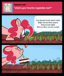 Size: 1077x1280 | Tagged: artist:footsam, ask, ask pinkie pie and tornado, cake, carrot, carrot cake (food), comic, earth pony, food, mouth hold, no catchlights, no pupils, pinkie being pinkie, pinkie physics, pinkie pie, pony, pulling, safe, solo, tumblr, wat
