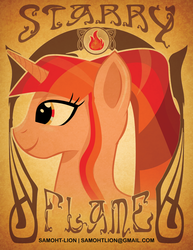 Size: 2550x3300 | Tagged: safe, artist:samoht-lion, oc, oc only, oc:starry flame, pony, unicorn, bust, female, horn, mare, smiling, solo, text, unicorn oc