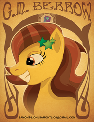 Size: 1275x1650 | Tagged: safe, artist:samoht-lion, pony, bust, female, g.m. berrow, grin, hairclip, mare, ponified, smiling, solo, text