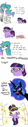 Size: 848x3878 | Tagged: safe, artist:jargon scott, nightmare moon, princess celestia, twilight sparkle, oc, alicorn, pony, unicorn, worm, friendship is magic, comic, comic:puddle worms™, dialogue, element of generosity, element of honesty, element of kindness, element of laughter, element of loyalty, element of magic, elements of harmony, female, mare, oc:puddle worms™, onomatopoeia, twiggie
