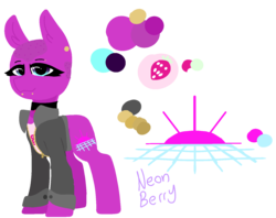 Size: 1561x1238 | Tagged: safe, artist:nootaz, oc, oc:neon berry, earth pony, pony, bald, choker, clothes, color palette, cutie mark, ear piercing, earring, female, jacket, jewelry, lip piercing, piercing, reference sheet, shaved mane, shaved tail, simple background, solo, transparent background