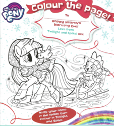 Size: 826x915 | Tagged: safe, spike, twilight sparkle, alicorn, coloring page, magazine scan, monochrome, sled, twilight sparkle (alicorn)
