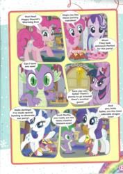 Size: 1654x2338 | Tagged: safe, pinkie pie, rarity, spike, starlight glimmer, twilight sparkle, alicorn, dragon, earth pony, pony, unicorn, a wonderful white hearth's warming eve!, comic, cupcake, darling, food, magazine scan, twilight sparkle (alicorn)