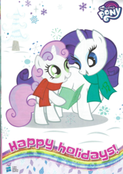 Size: 1654x2338 | Tagged: safe, rarity, sweetie belle, pony, magazine scan, stock vector