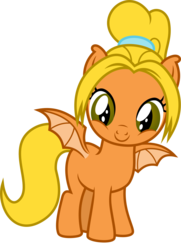 Size: 829x1145 | Tagged: safe, artist:punzil504, oc, oc:cacophony, bat pony, pony, 2020 community collab, derpibooru community collaboration, bat pony oc, blank flank, cute, female, filly, ponified, ponytail, simple background, smiling, solo, spread wings, too cute, transparent background, wings