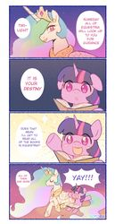Size: 800x1552 | Tagged: safe, artist:dotoriii, princess celestia, twilight sparkle, alicorn, pony, unicorn, 4koma, :d, :o, adorkable, blush sticker, blushing, book, bookhorse, cheering, comic, cute, daaaaaaaaaaaw, dialogue, dork, duo, everything went better than expected, excited, eyes closed, featured image, female, filly, filly twilight sparkle, floppy ears, hnnng, lidded eyes, mare, momlestia, open mouth, prone, reading, sitting, smiling, sparkles, speech bubble, that pony sure does love books, twiabetes, unicorn twilight, weapons-grade cute, yay, younger